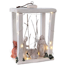Wooden lantern with Holy Family in Deruta terracotta 30x22x18 micro LED light s4