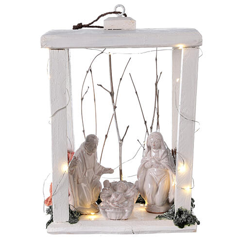 Wooden lantern with Holy Family in Deruta terracotta 30x22x18 micro LED light 1