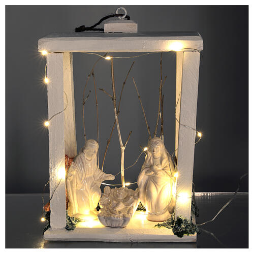 Wooden lantern with Holy Family in Deruta terracotta 30x22x18 micro LED light 2