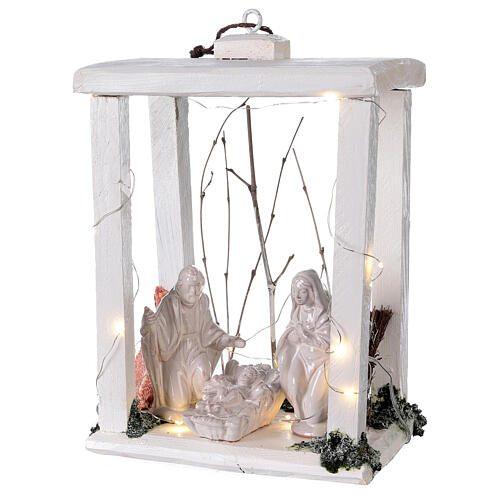 Wooden lantern with Holy Family in Deruta terracotta 30x22x18 micro LED light 3
