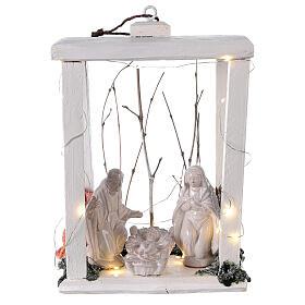 Linterna madera estatuas terracota blanca Deruta 30x22x18 20 luces microled s1