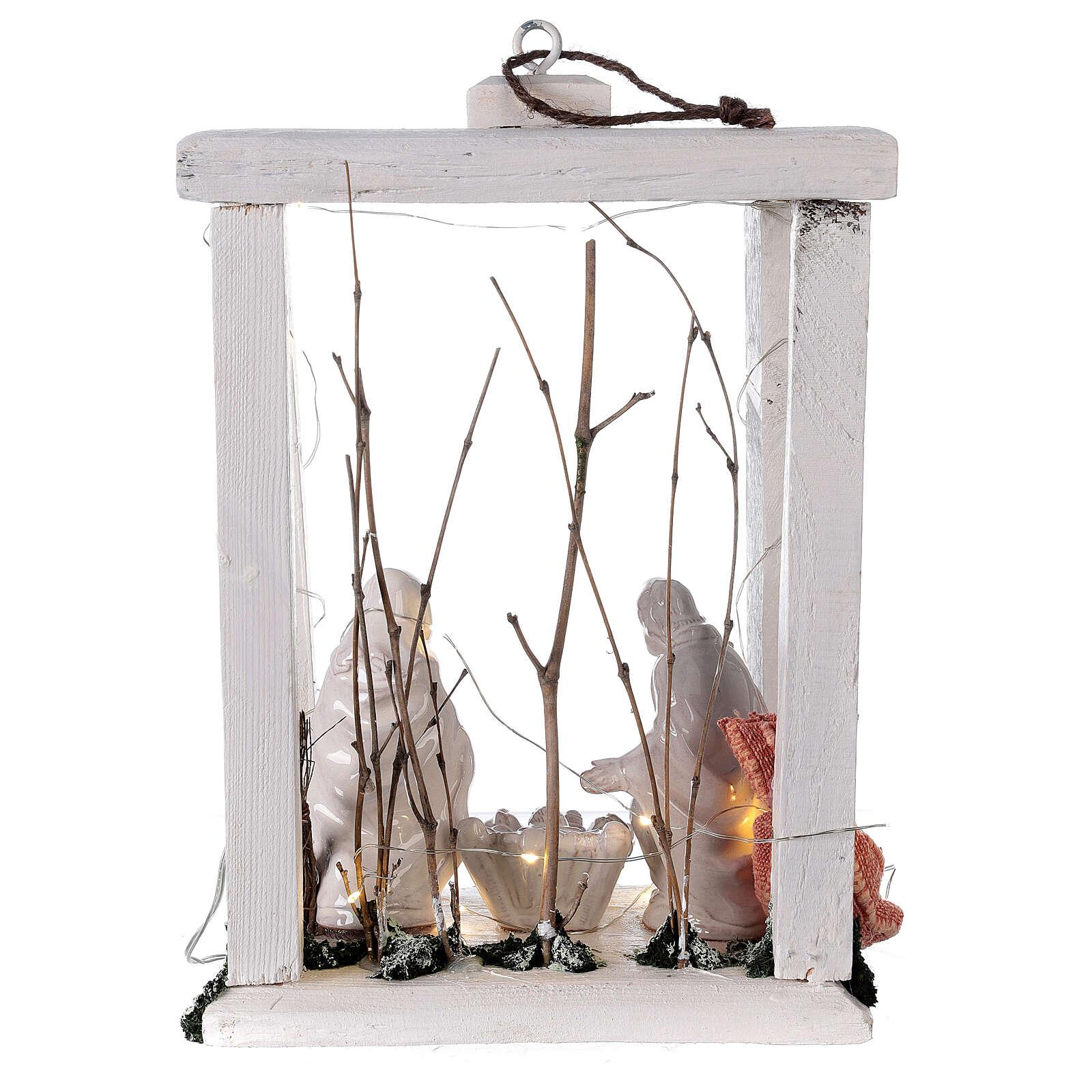 Lanterne bois santons terre cuite blanche Deruta 30x22x18 cm 20 nanoLED 4