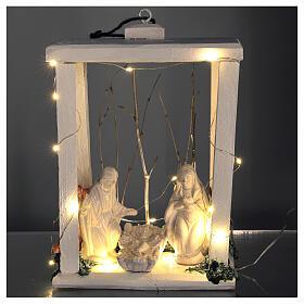Lanterne bois santons terre cuite blanche Deruta 30x22x18 cm 20 nanoLED s2