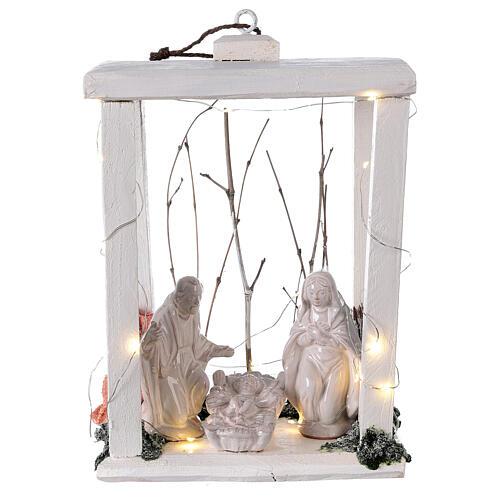Lanterne bois santons terre cuite blanche Deruta 30x22x18 cm 20 nanoLED 1