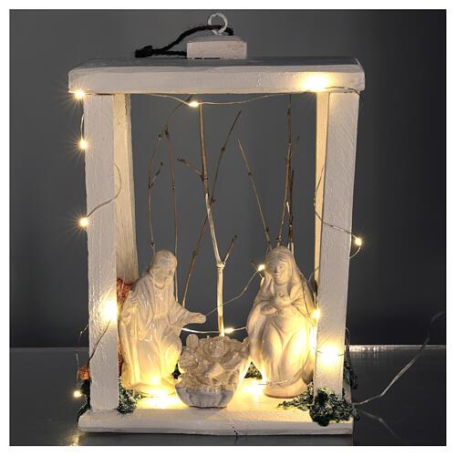 Lanterne bois santons terre cuite blanche Deruta 30x22x18 cm 20 nanoLED 2