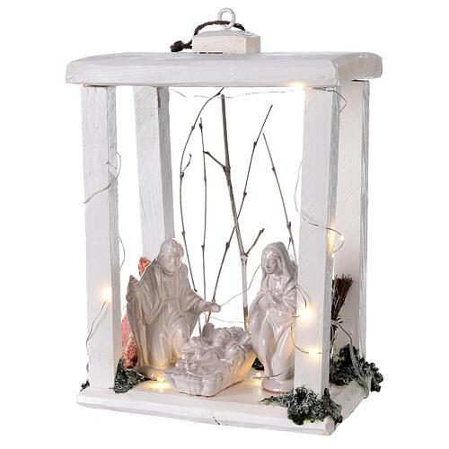Lanterne bois santons terre cuite blanche Deruta 30x22x18 cm 20 nanoLED 3