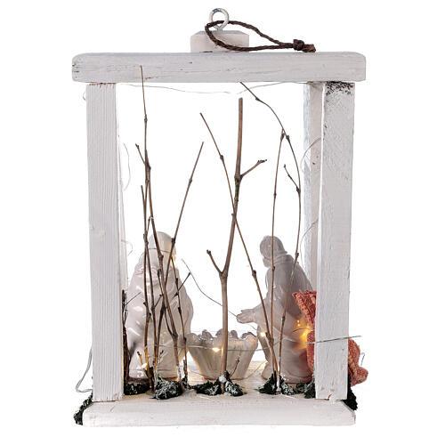 Lanterne bois santons terre cuite blanche Deruta 30x22x18 cm 20 nanoLED 5