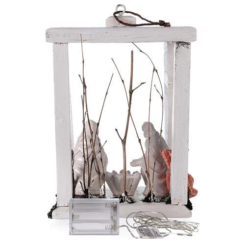 Lanterne bois santons terre cuite blanche Deruta 30x22x18 cm 20 nanoLED 6