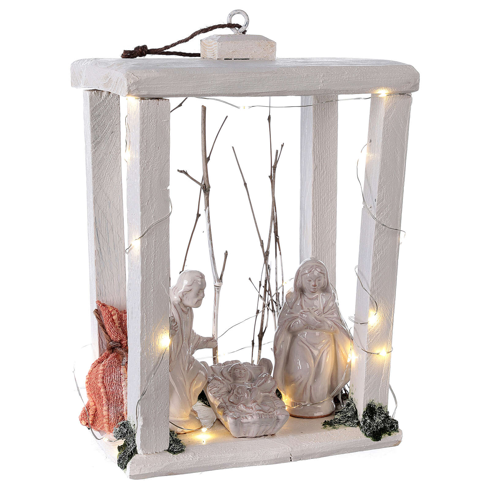 Nativity Christmas lantern wood Deruta terracotta statues 30x22x18 micro LED light 4