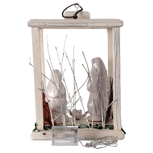 Lanterna legno Natività 20 cm terracotta bianca Deruta 20 led 35x26x20 cm 6