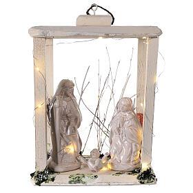 Nativity lantern wood 20 cm white Deruta terracotta 20 LEDs 35x26x20 cm s1