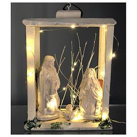 Nativity lantern wood 20 cm white Deruta terracotta 20 LEDs 35x26x20 cm s2