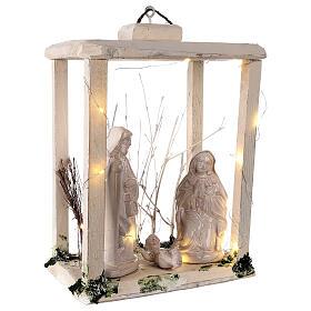 Nativity lantern wood 20 cm white Deruta terracotta 20 LEDs 35x26x20 cm s4