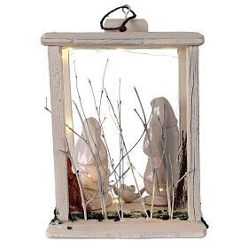 Nativity lantern wood 20 cm white Deruta terracotta 20 LEDs 35x26x20 cm s5