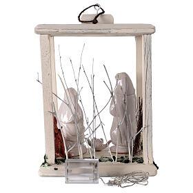 Nativity lantern wood 20 cm white Deruta terracotta 20 LEDs 35x26x20 cm s6