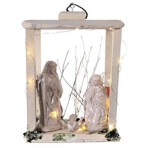 Nativity lantern wood 20 cm white Deruta terracotta 20 LEDs 35x26x20 cm 1