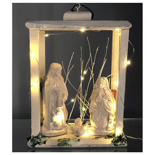 Nativity lantern wood 20 cm white Deruta terracotta 20 LEDs 35x26x20 cm 2