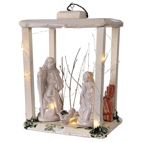 Nativity lantern wood 20 cm white Deruta terracotta 20 LEDs 35x26x20 cm 3