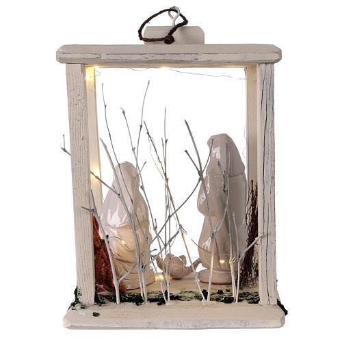 Nativity lantern wood 20 cm white Deruta terracotta 20 LEDs 35x26x20 cm 5
