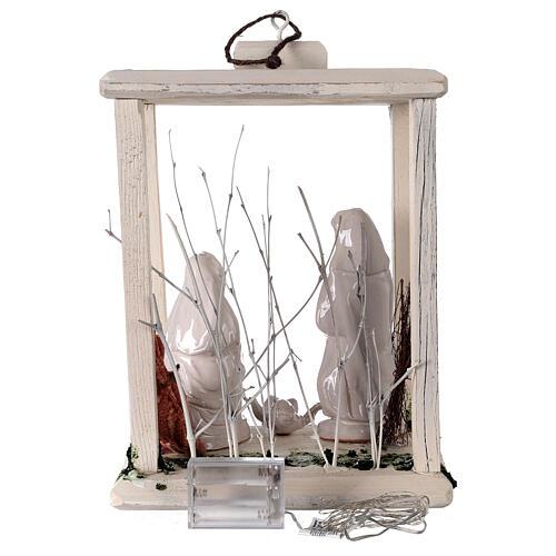 Nativity lantern wood 20 cm white Deruta terracotta 20 LEDs 35x26x20 cm 6