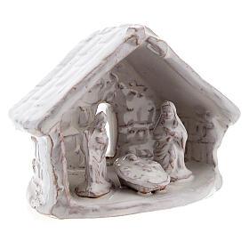 Mini cabaña natividad 6 cm terracota blanca Deruta s3
