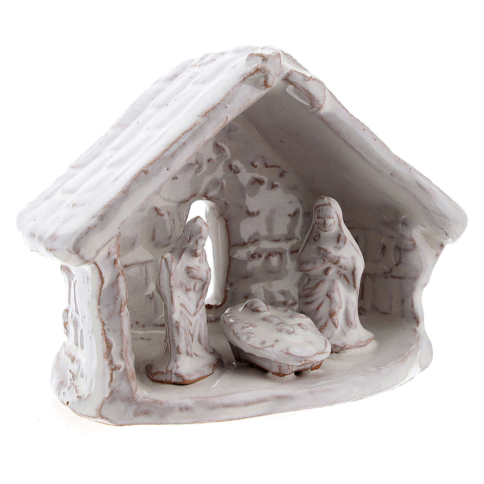 Mini cabane nativité 6 cm terre cuite blanche Deruta 4