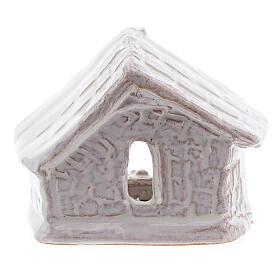 Mini cabane nativité 6 cm terre cuite blanche Deruta s4