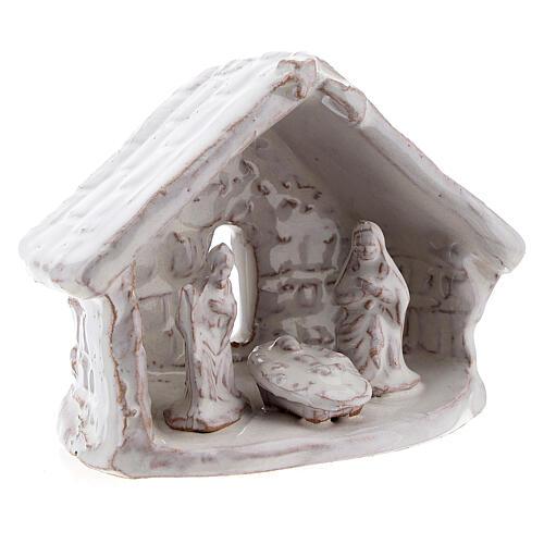 Mini cabane nativité 6 cm terre cuite blanche Deruta 3