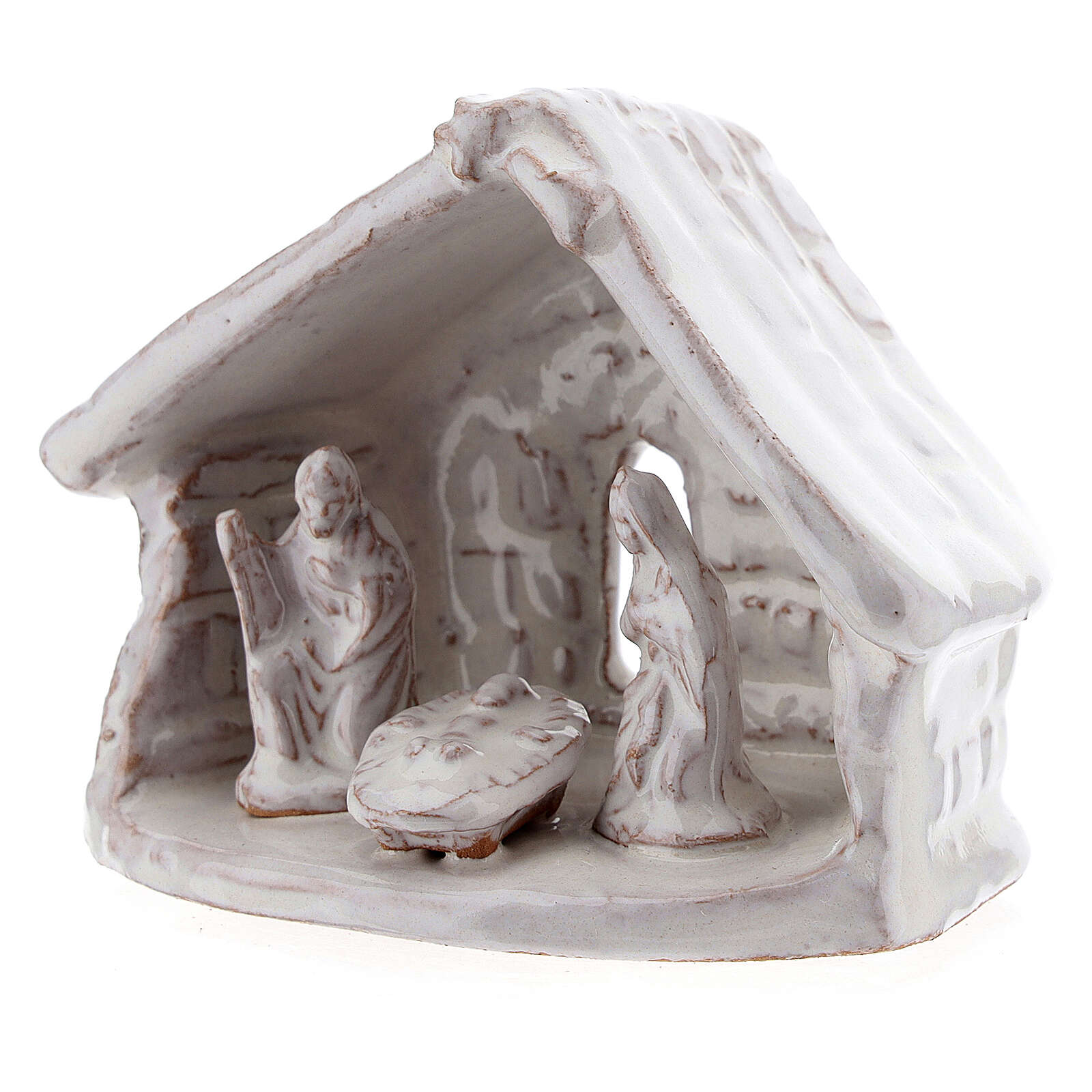 Miniature Holy Family with stable 6 cm white Deruta terracotta 4