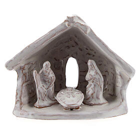 Miniature Holy Family with stable 6 cm white Deruta terracotta s1