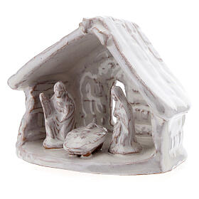 Miniature Holy Family with stable 6 cm white Deruta terracotta s2