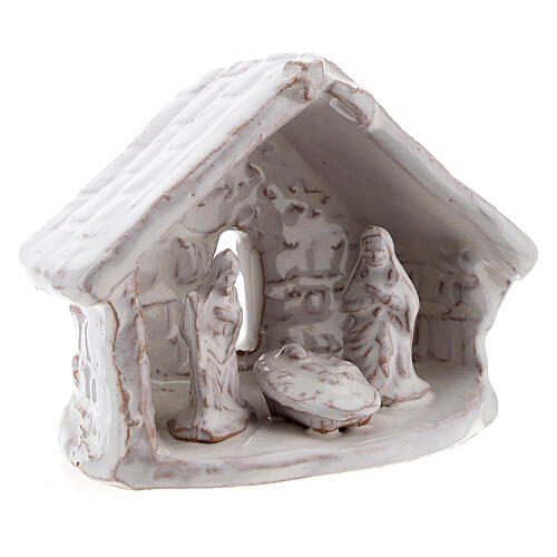 Miniature Holy Family with stable 6 cm white Deruta terracotta 3