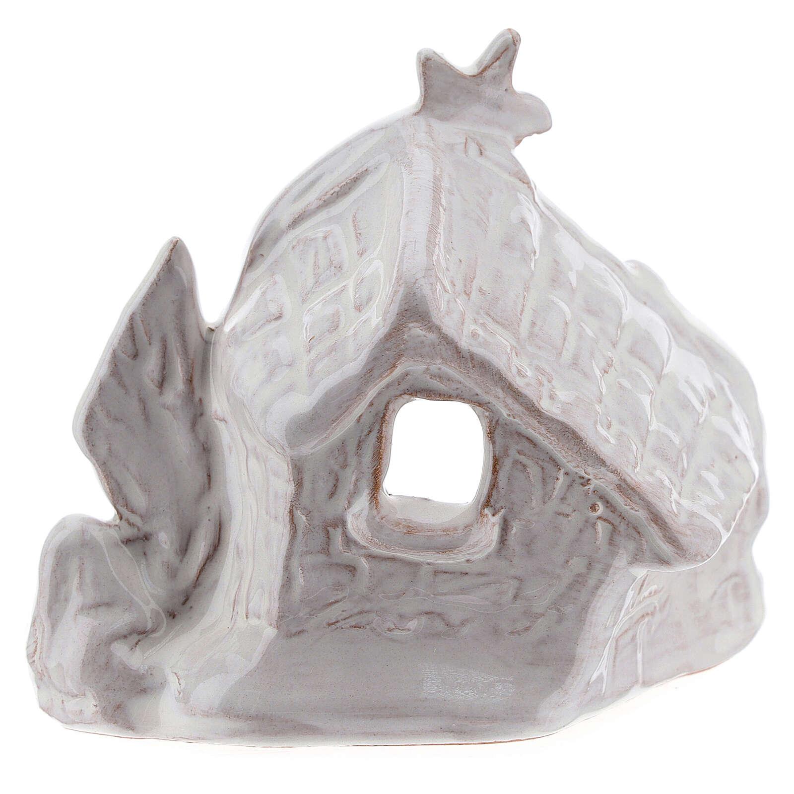 Nativity hut with comet in white Deruta terracotta 8 cm 4