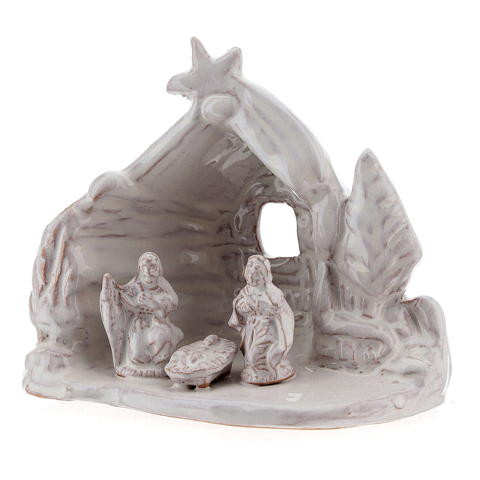 Miniature Nativity stable with Holy Family white Deruta terracotta 8 cm 4