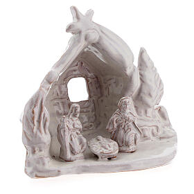 Miniature Nativity stable with Holy Family white Deruta terracotta 8 cm s3