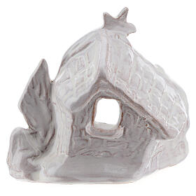Miniature Nativity stable with Holy Family white Deruta terracotta 8 cm s4