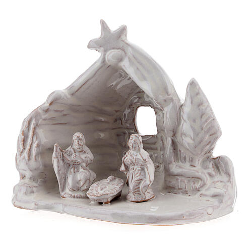 Miniature Nativity stable with Holy Family white Deruta terracotta 8 cm 2