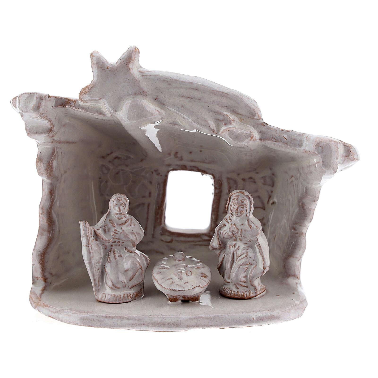 Capanna presepe Natività tetto piatto terracotta bianca Deruta 8 cm 4