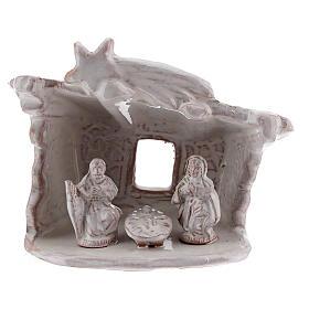 Capanna presepe Natività tetto piatto terracotta bianca Deruta 8 cm s1