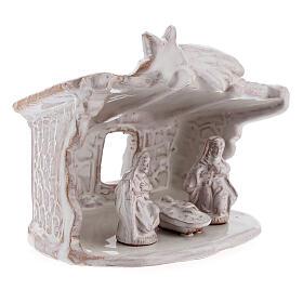 Capanna presepe Natività tetto piatto terracotta bianca Deruta 8 cm s3