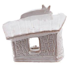 Capanna presepe Natività tetto piatto terracotta bianca Deruta 8 cm s4
