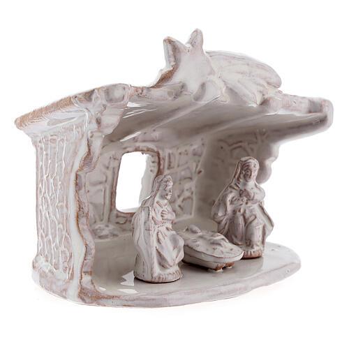 Capanna presepe Natività tetto piatto terracotta bianca Deruta 8 cm 3