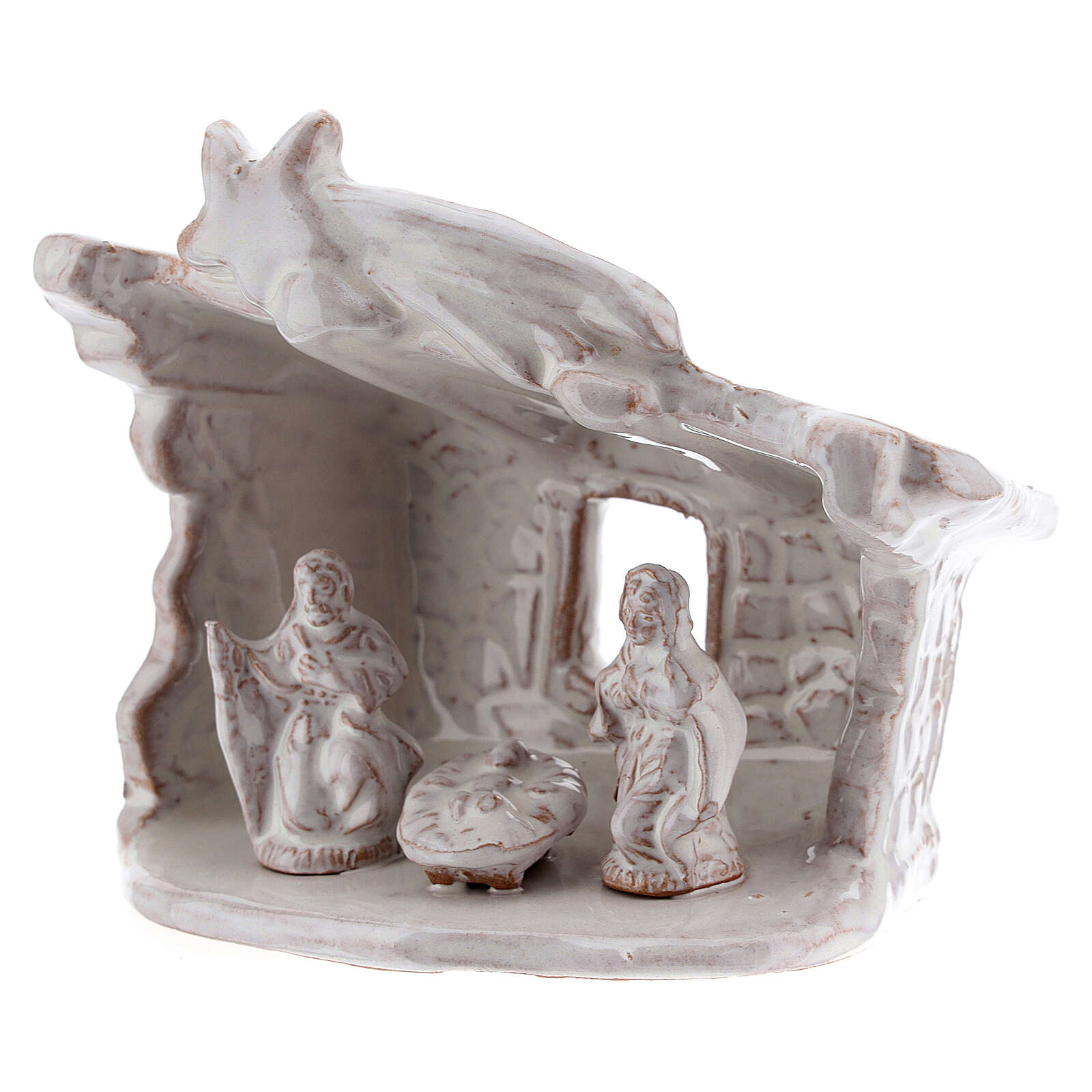 Mini nativity stable flat roof with Holy Family white Deruta terracotta 8 cm 4