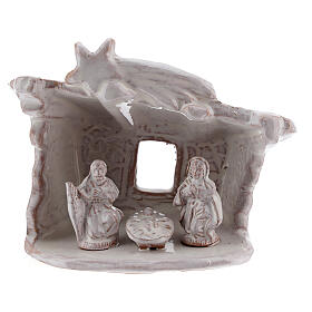 Mini nativity stable flat roof with Holy Family white Deruta terracotta 8 cm s1
