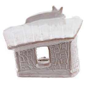 Mini nativity stable flat roof with Holy Family white Deruta terracotta 8 cm s4