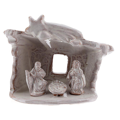 Mini nativity stable flat roof with Holy Family white Deruta terracotta 8 cm 1