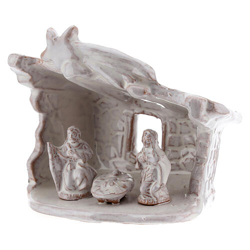 Mini nativity stable flat roof with Holy Family white Deruta terracotta 8 cm 2