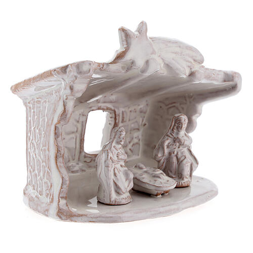 Mini nativity stable flat roof with Holy Family white Deruta terracotta 8 cm 3