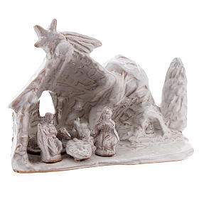 Miniature nativity stable with Holy Family in white terracotta Deruta 10 cm s3
