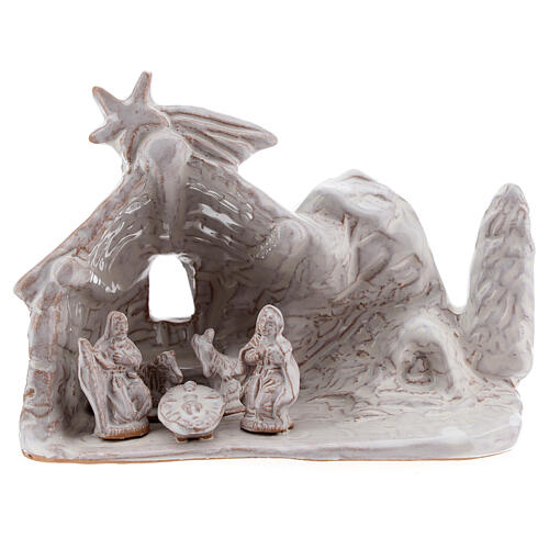 Miniature nativity stable with Holy Family in white terracotta Deruta 10 cm 1